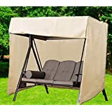 boyspringg Patio Outdoor 3 Triple Seater Hammock Patio Swing Chair Cover 210D Oxford Fabric Heavy Duty Glider Canopy Cover Al