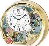 シチズン 置き時計 アナログ ファンタジーランド504 電子音 目覚まし 機能付 金色 CITIZEN 4SE504-018