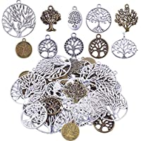 Bonayuanda Pack of 50 Alloy Tree of Life Charms Pendents Jewelry Findings for Making Bracelet and Necklace