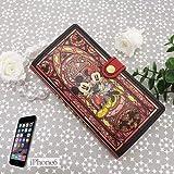 ミッキー&ミニー[iPhone6ケース]レザー製アイフォン6手帳型カバー/ステンドグラスコレクション ディズニー
