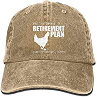 Good Pillow Cases YES I DO Have A Retirement Plan I Plan ON Raising Chickens Washed Retro Adjustable Cowboy Cap Sport Hat for Woman and Man