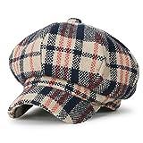 (イリリリー) ililily タータン チェック柄 ウール混 ニュースボーイハット ダックビル アイビー ゴルフ フラットキャップ キャスケット帽, Beige Tartan Cherckered