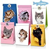 Cat Gift Bags Kitten Paper Goodie Candy Treat Bags for Kids Birthday Pet Adoption Cat Theme Party Decoration Supplies Favors
