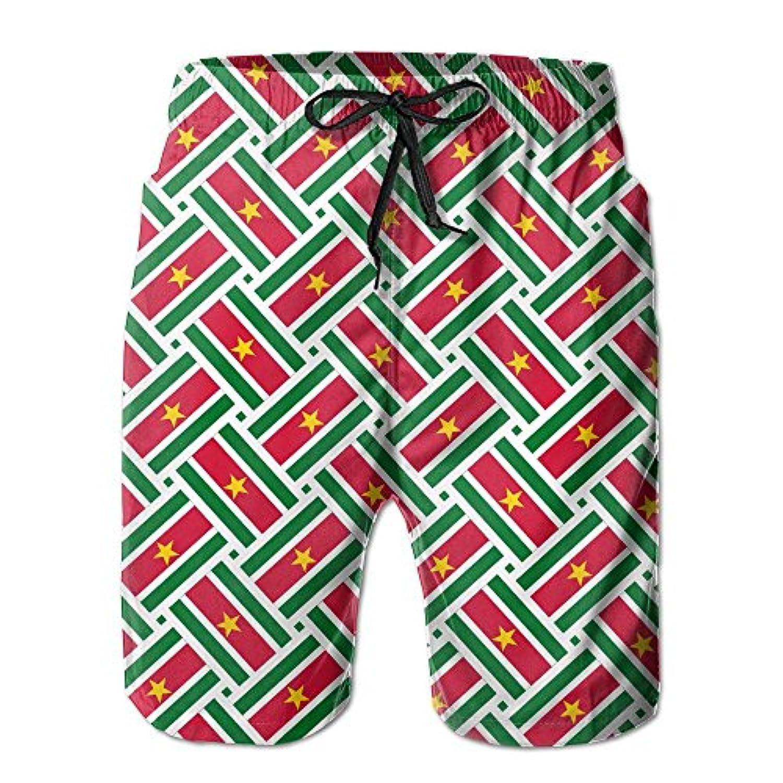 スリナムの旗 メンズ サーフパンツ 水陸両用 水着 海パン ビーチパンツ 短パン ショーツ ショートパンツ 大きいサイズ ハワイ風 アロハ 大人気 おしゃれ 通気 速乾