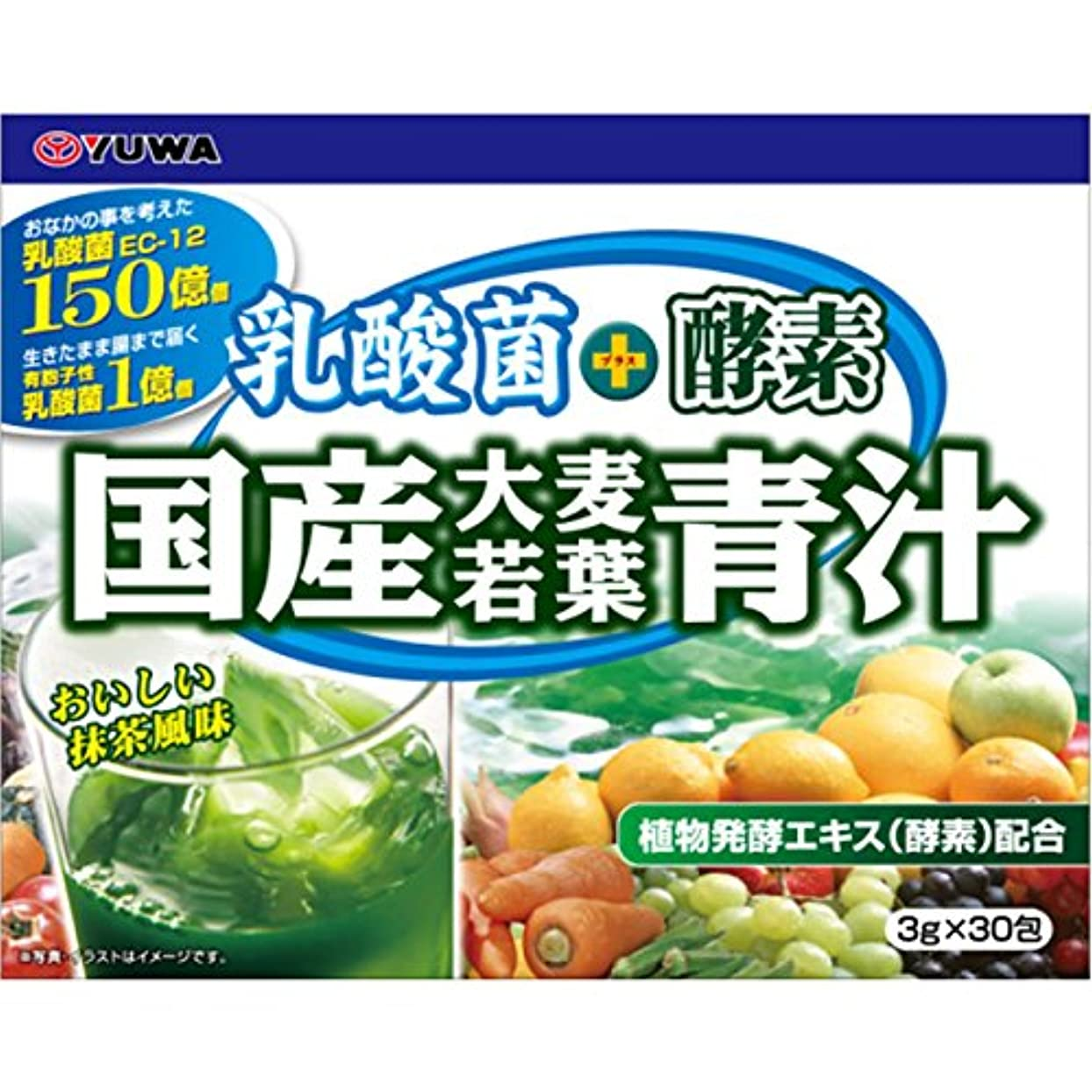 形非効率的な植物学者ユーワ 乳酸菌+酵素 国産大麦若葉青汁 90g (3g×30包)