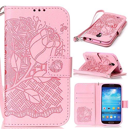 Samsung Galaxy S4 対応 手帳型 ケース CUSKING おしゃれ エンボス かわいい 無地 全面保護 ケース ギャラクシ S4 手帳ケース 衝撃吸収 耐衝撃 ストラップ付き マグネット式 フリップ 財布型 カード - ピンク 花柄