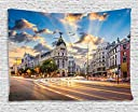 Ambesonne European Cityscape Decor Collection, View of the Streets Modern Madrid With Sky Landscape Big Old Town Heritage Deco, Bedroom Living Room Dorm Wall Hanging Tapestry, 60 X 40 Inches, Multi 並行輸入品