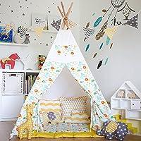 fessyc @新しいイエローフラワーデザインインドティーピー子供のゲームテントインドアプリンセスドールハウス家インド木製キャンバステント