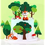 LaVenty 19 PCS Woodland Animal Cupcake Toppers Woodland Theme Cupcake Toppers Woodland Creatures Cupcake Picks for Forest Bab