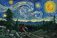Northwest–Van Gogh Starry Night–Bigfoot 16 x 24 Signed Art Print LANT-81018-709