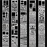 FUNCOCO 20 Pcs Bullet Journal Stencil Plastic Planner Stencils Journal/ Notebook/ Diary/ Scrapbook/ Art Craft Projects/ Diy Drawing Template Stencil 4X7 Inch