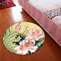 YI LU Deng JU- 子供の部屋の蓮のマット、全国の風のバスケット旋回椅子のカーペット、ラウンドカーペット、中国の風のカーペット (色 : A, サイズ さいず : 80cm)