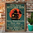 Aperiy Retro Pewter Logo Witch Old Salem Witch Halloween Logo Decoration Wall Bedroom Best Gift for Friends 12x16 inch