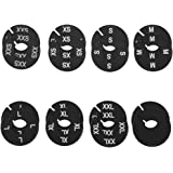 NAHANCO CBWKIT3 Black Round Clothing Size Divider with White Print for Home or Clothing Store, XXS-XXL, Kit of 16 (8 Sizes of