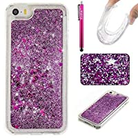 (iPhone 5/5S/SE, Purple) - iPhone 5S/SE Case, Firefish Thin Sparkle Flexible TPU Gel Silicone [Ultra Thin] [Scratch Resistances] Back Cover Shell for Apple iPhone 5 5S SE -Purple