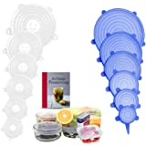 Silicone Stretch Lids,12pack Silicone Stretch Lids Food Covers Reusable Durable and Expandable Lids, Silicone Covers for Fres