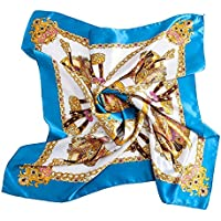 BEEYA Womens Fashion Vintage Pattern Large Silk Scarf for Hair Square Luxury Chain Print Neckerchief Headscarf 35x35 Inches