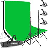 Neewer 8.5ft X 10ft/2.6M X 3M Background Stand Support System with 6ft X 9ft/1.8M X 2.8M Backdrop(White,Black,Green) for Port