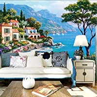 Xueshao 3D壁画壁紙地中海油絵風景の壁紙家の装飾リビングルームのソファテレビの背景壁紙-150X120Cm
