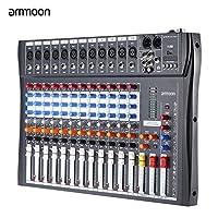 ammoon 12チャンネル ミキサー ミキシングコンソール マイク・オーディオ 3バンドEQ USB XLR入力48Vファンタム電源付き120S-USB