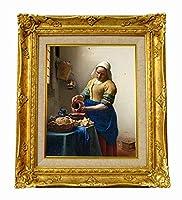 世界の名画 フェルメール 牛乳を注ぐ女 ジクレーキャンバス複製画F3号豪華額装品