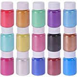 Mica Powder Slime Pigment Supply Kit Powder Resin in Bottle Organized with Pearlescent Pearl Luster, 15 Colors Fine for Soap