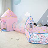 OldPAPA Kids Play Tent, Pop Up Play Tents with Crawl Tunnel & Ball Pit with Basketball for Kids, Boys, Girls, Babies and Todd