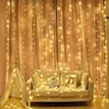 300LED Window Curtain Lights USB Powered with Remote for Bedroom Party Wedding Decorations (Warm White)