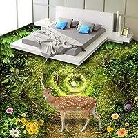 Xbwy 美しい緑の森の鹿3Dステレオカスタムフローリングショッピングモールの壁紙壁画-280X200Cm