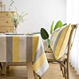 LINENLUX Stylish Square Rectangular Tablecloth/Table Cover for Kitchen Dinning Tabletop Decoration Yellow Striped Square/Roun