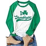 CHICFLORAL Women St. Patrick's Day Long Sleeve Raglan T-Shirt I Love Shenanigans Shamrock Graphic Splicing Tees Shirt Tops