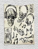 音楽インテリアタペストリーby Ambesonne、Sketchy音楽背景Hipster Skull With Headphonesレコードプレーヤーマイクスピーカー印刷、寮寝室リビングルーム装飾、40W x 60Lインチ、ベージュブラック