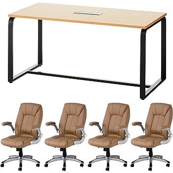 届け先法人限定 オフィスコム 4人用 会議セット メティオ ミーティングテーブル ナチュラル 1500×750 + 革張りチェア 可動肘付き レクアス キャメル 4脚セット