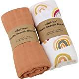 LifeTree Baby Swaddle Blanket, Neutral Swaddling Muslin Wraps Receiving Blankets for Boys & Girls, 70% Bamboo & 30% Cotton, L