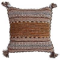 クッションカバー 手織り キリム 綿素材 45x45cm エスニック アジアン インド製 (ベージュ)