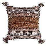 クッションカバー 手織り キリム 綿素材 45x45cm エスニック アジアン インド製 (ベージュ)の写真