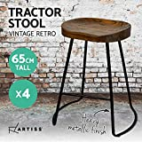 Artiss 4 Pcs Bar Stools 65cm Height Wooden Tractor Seat Metal Counter Stools Industrial Bar Chairs for Home Kitchen Dining Room Office Commercial Cafe Shops Pubs