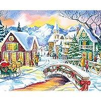 LovetheFamily クリスマスの雪景色(二) 数字キットによる絵画 数字油絵 数字キット塗り絵 手塗り DIY絵 デジタル油絵 ホーム オフィス装飾 (40x50cm, フレーム付き)
