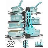 フライパンラック 鍋収納ラック キッチン 収納 フライパン ラック 縦置 横置可能 フック3枚付き フライパンスタンド 鍋 蓋置き 多機能 高さ調整できる シンク下収納(ブラック)