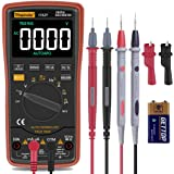 Auto Ranging Digital Multimeter TRMS 6000 with Battery Alligator Clips Test Leads AC/DC Voltage/Account,Voltage Alert, Amp/Oh