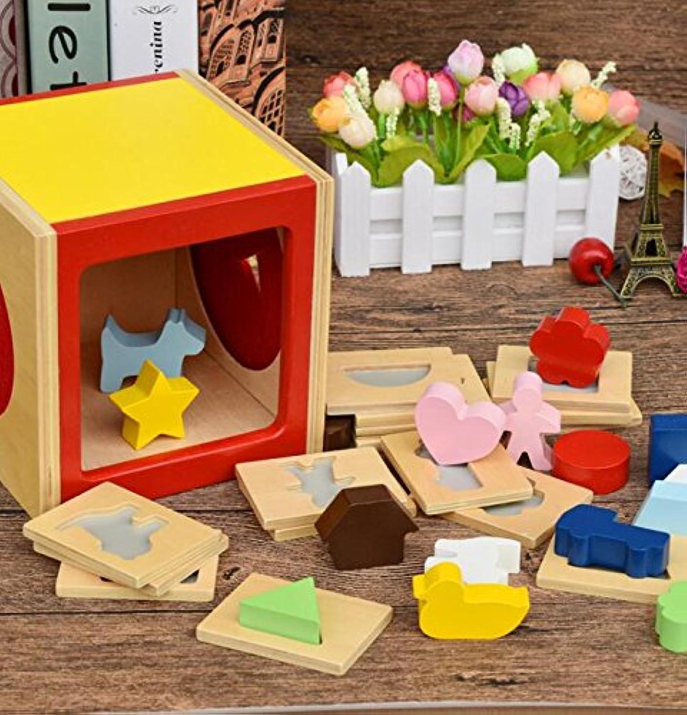 HuaQingPiJu-JP 子供のためのブランドの新しい木の形状選別教育的な形の色認識玩具
