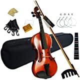 Aliyes Solid Wood Violin Designed for Beginners/Students with Hard Case Bow Rosin (4/4/Full-size)