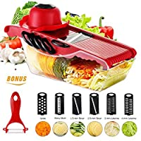 (Red) - Mandoline Vegetable Slicer Cutter of Godmorn - 6 Interchangeable Blades with Peeler, Hand Protector,Storage Container - Cutter for Potato,Tomato, Onion, Cucumber,Cheese etc