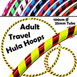 Pro Hula Hoops ( ultra-grip / Glitter Deco ) Weighted Travelフラフープ(100 cm / 39 ' ) Hula Hoops練習、ダンス&フィットネスの。( 640g ) no必要な指示 – Same day dispatch。。 ブルー