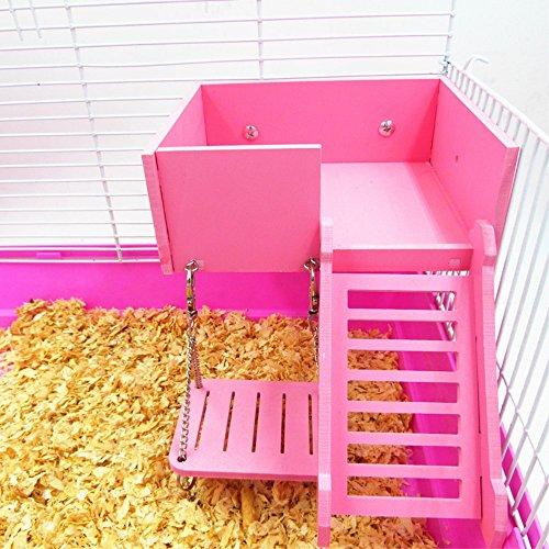 小動物 ケージ アクセサリー 3点 セット 梯子 ブランコ ハムスター専用 運動セット 木製おもちゃ 玩具 遊具 ペット用品 セットケージ アクセサリー (ピンク)