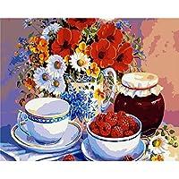 "mimgo FramelessシリーズDIY油絵、ペイントby Numberキット–フラワー花瓶、カップ、Wild Strawberry–16"" x20"""