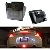 iJDMTOY Dark Smoked Lens LED Rear Fog Light Kit For 2009-up Nissan 370Z & 13-17 Juke Nismo, Powered by Red LED as Brake/Rear