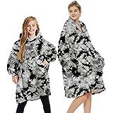 Wearable Blanket Sweatshirt Hoodie for Women and Men Girl Boy Oversized Double Fleece Plush Cartoon Hooded Top with Warm Fron