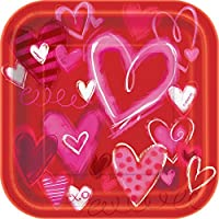 18cm Square Painted Hearts Valentine's Day Paper Dessert Plates, 10ct