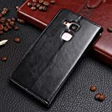 Wkae Case Cover Huawei社Maimang 5 MLA AL10のためのHuawei社Maimang 5 MLA AL10ケースソリッドカラープレミアムPUレザーケースウォレットスタンドケース ( Color : Black , Size : HUAWEI MAIMENG5 )